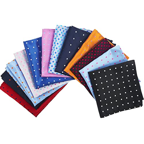 392de9da8b2d9 12 Pieces Men's Suit Pocket Square Dots Handkerchief Hanky for Wedding,  Party, Any Occasion