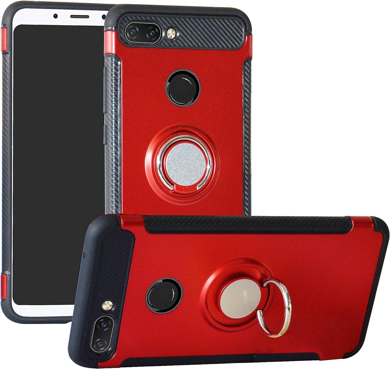 Labanema Xiaomi 8 Lite Funda, 360 Rotating Ring Grip Stand Holder Capa TPU + PC Shockproof Anti-rasguños teléfono Caso protección Cáscara Cover para Xiaomi Mi 8 Lite - Rojo