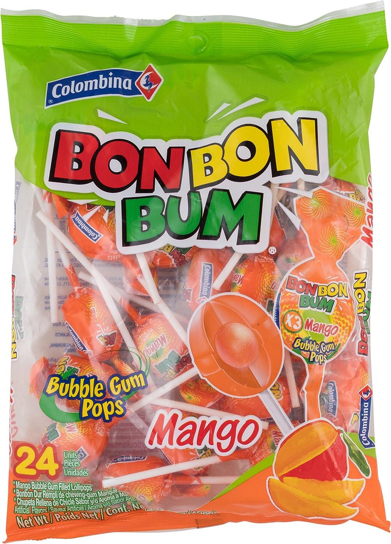 Colombina Bon Bum Bubble Gum Cheap super special price Mango co 24 Lollipops yellow Max 61% OFF