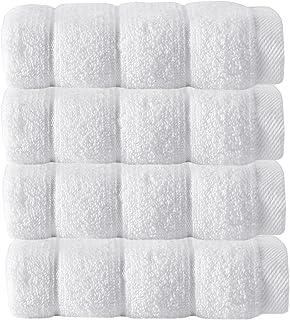 Enchante Home Vague Zero-Twist Wash Cloths 100% Turkish Micro Cotton, Set of 4