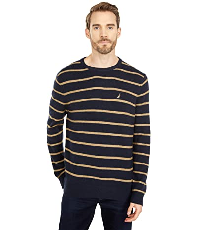Nautica Sustainably Crafted Stripe Crew Neck Sweater (Navy) Men