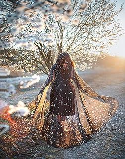 Capa de gasa negras estrellas y lunas con capucha bruja mago boda tematica medieval fantasia magia