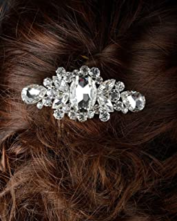 Unik Occasions Luxurious Large Rhinestone Crystal Hair Piece