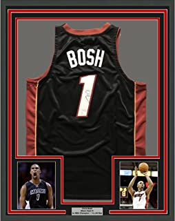 6fb2bff42ac Framed Autographed/Signed Chris Bosh 33x42 Miami Black Basketball Jersey  JSA COA