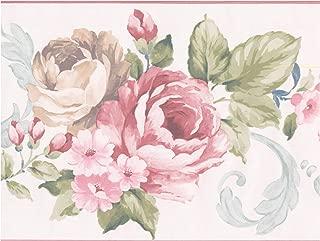 Prepasted Wallpaper Border - Vintage Rouge Pink Beige Roses White Wall Border Retro Design, Roll 15 ft. x 8 in.