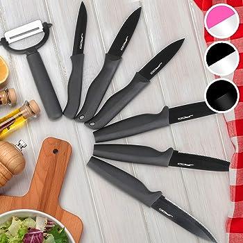 Compra Juego de Cuchillos de 7 Piezas con el Estuche de Color Negro en Amazon.es