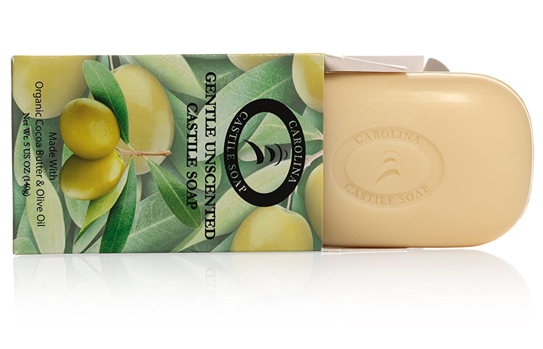 ミトンカルシウムファイターCarolina Castile Soap カカオバターとオリーブオイル5オズ?バーズ(6パック)の有機カスティーリャ石鹸ジェントル無香料