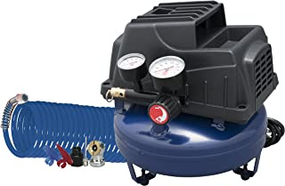 Air Compressor, 1 Gallon, Pancake, Oilless Pump, 110 PSI w/ Recoil Air Hose &..