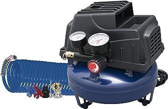 Air Compressor, 1 Gallon, Pancake, Oilless Pump, 110 PSI w/ Recoil Air Hose &..