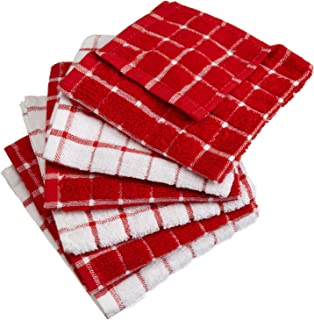 """DII Cotton Terry Windowpane Dish Cloths, 12 x 12"""" Set of 6, Machine Washable and Ultra Absorbent Kitchen Dishcloth-Red"""