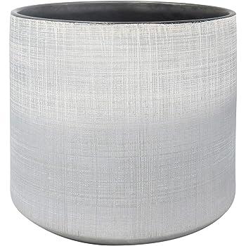"Amazon Brand – Rivet Rustic Stoneware Crosshatch Indoor Outdoor Flower Plant Pot, 8.7""H, Silver"