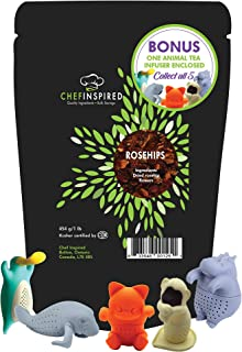ROSEHIPS by Chef Inspired, 1lb PLUS Silicone Animal Tea Infuser enclosed