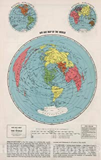 Historic Map - 1948 Air Age Map of the World. - Vintage Wall Art - 44in x 70in