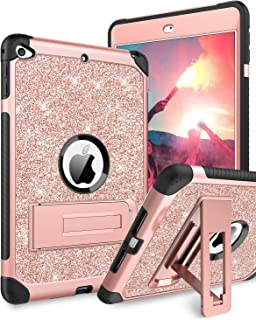 BENTOBEN Case for iPad Mini 5 / iPad Mini 4, Glitter 3 Layer Full Body Protective Kickstand PU Leather Shockproof Girls Women Kids Tablet Cover for Apple iPad Mini 5 / Mini 4, Rose Gold