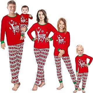 Matching Family Pajamas Christmas Red Sleepwear Cotton...