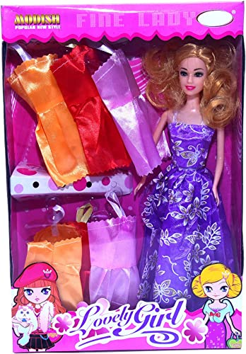 TOYMANIA Beautiful Fashion Doll For Girls With 7 Beautiful Dresses Very Charming FACE And Cute Smile Big Size Doll Multicolor