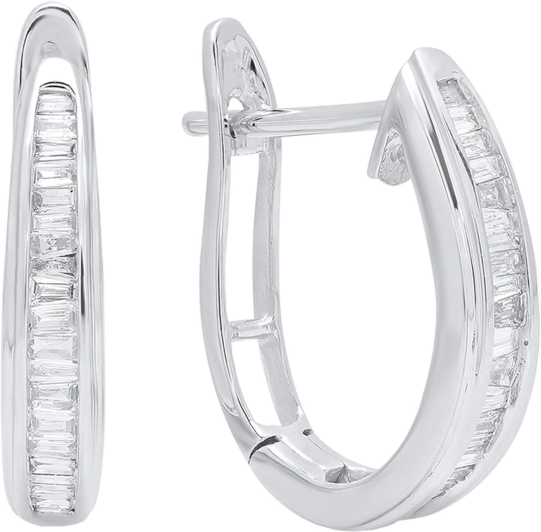 Dazzlingrock Collection 0.18 Carat (ctw) Baguette Channel Set White Diamond Ladies Oval Latch Back Hoop Earrings, Available in 10K/14K/18K Gold