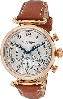 Akribos XXIV Women's Retro Analogue Display Quartz Watch with Leather Strap