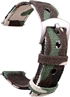 Wolfteeth Watch Bands - Four Color Choice (Black, Brown Camo, Green Camo or Navy Blue) & Width (18mm, 20mm or 22mm) - Nylo...