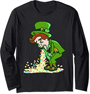 Funny St Patricks Day Drunk Leprechaun Puking Drinking Party Long Sleeve T-Shirt
