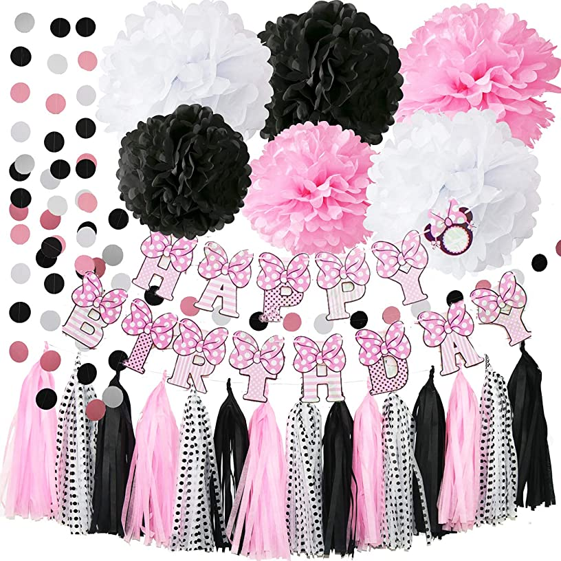 Minnie Mouse Party Decorations Minnie Mouse Happy Birthday Party Decorations,Pink White Black Tissue Pom Pom Circle Garland Tassel Sheets Minnie Mouse DIY Decor for Minnie/Mickey Birthday Decorations