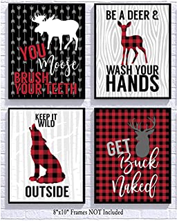 Silly Goose Gifts Buffalo Plaid Red Check Woodland Wild Themed Bathroom Art Print Decor (Set of Four)