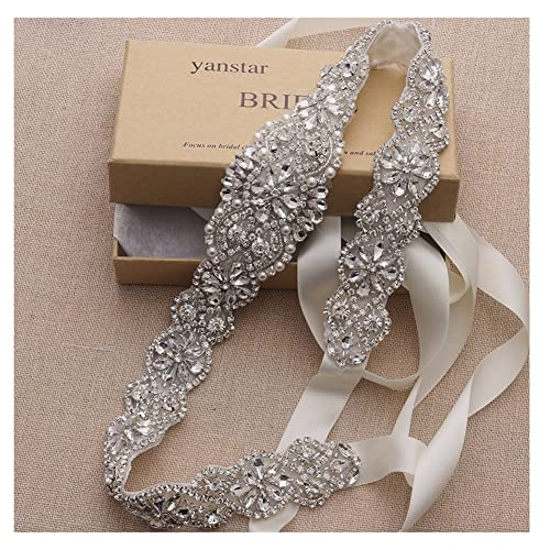 c04cf6b9808d Bridal Rhinestone Wedding Belts Hand Clear Crystal 22In Length For Bridal  Gowns