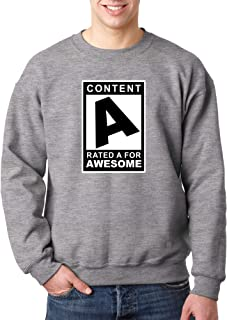 1179 - Crewneck Content Rated A for Awesome Unisex Pullover Sweatshirt