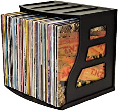Vinyl Record Storage Holder, Office Desktop Organizer Stand, Stackable LP Album Crate Scrapbooking 12x12 Paper Rack Ring Binder Lever Arch Shelf Cube Holds Over 50 Albums Vertical Bookshelf Filing Box