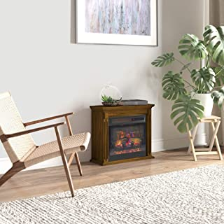 Duraflame Rolling Mantel with Infrared Quartz Electric Fireplace with Crackling Sound Heaters, Burnished Walnut