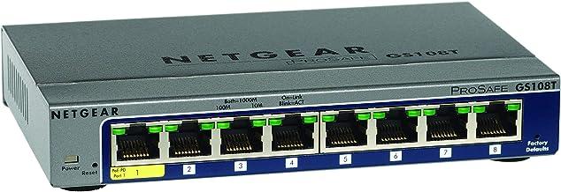Netgear GS108T-200GES - Switch gestionable Smart Pro de 8 Puertos Gigabit, Color Gris