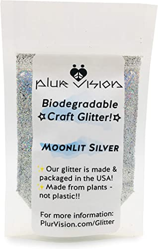 popular Moonlit Silver Biodegradable Glitter 1/2 Ounce - Made from Plant Cellulose, Earth Friendly. Perfect for Crafts, DIY Projects, Even Body, Cosmetics. Can be Mixed with Adhesives, popular Paints, wholesale Gels, Oils online