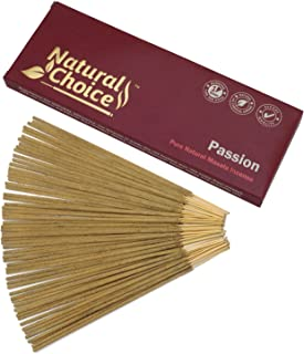 Natural Choice Incense Passion Incense Sticks 100 Grams, Low Smoke Traditional Incense Sticks Made from Scratch, Never Dipped