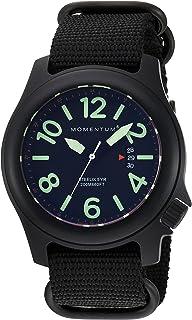 ساعة رياضية للرجال|Steelix Nylon Adventure Watch من Momentum|IP سوداء من الفولاذ المقاوم للصدأ للرجال|ساعة انالوج مع حركة ...