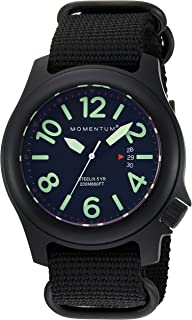 Men's Sports Watch|Steelix Nylon Adventure Watch by Momentum|IP Black Stainless Steel Watches for Men|Analog Watch with Japanese Movement|Water Resistant(200M/660FT) Classic Watch - Black /1M-SP84B7B