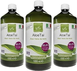 Oferta 3 x ALOE TAI - ALOE VERA PURA 99,8% - 3 Botellas de 1 litro - PRODUCTO ITALIANO
