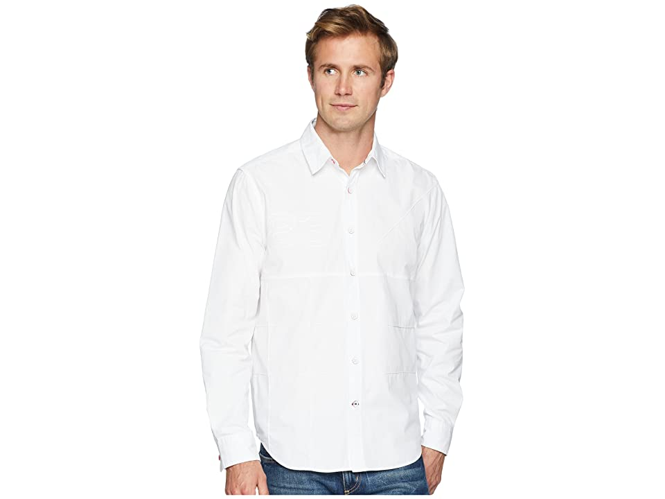 Nautica Long Sleeve Pieced Woven Shirt (Bright White) Men