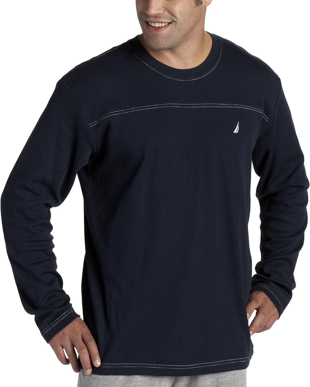 Nautica Sleepwear Men's Waffle Knit Long Sleeve Sleep Crew Sleep Tee