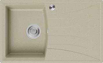 Granieten Gootsteen Beige + Pop-Up Sifon, Voor Keukenkasten vanaf 45 cm, Grootte 77 x 47 cm, Gootsteen Valencia van Primagran