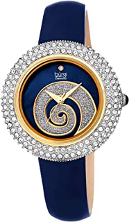 Swarovski Crystals Dial - Unique Sparkle Swirl Mother of Pearl On Dial - Genuine Leather Strap Women's Watch - BUR209
