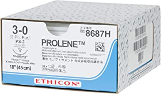 Ethicon PROLENE Polypropylene Suture, 8687H, Synthetic Non-absorbable, PS-2 (19 mm), 3/8 Circle Needle, Size 3-0, 18'' (45 cm)