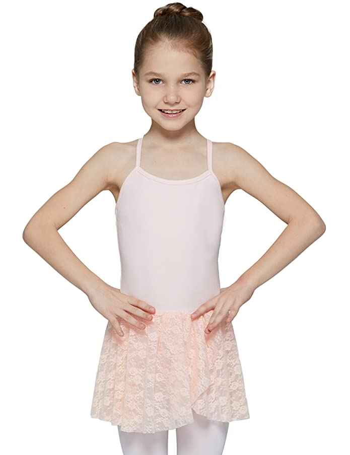 MdnMd Girls' Lace Skirted Camisole Leotard