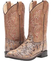 Old West Kids Boots Lizard Print Square Toe (Toddler/Little Kid)