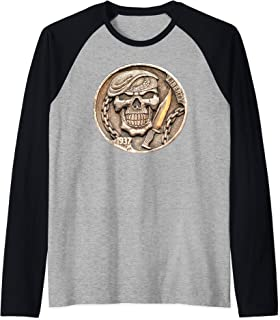 Buffalo Nickel Beret Skull ~ Combat Soldier Knife Raglan Baseball Tee