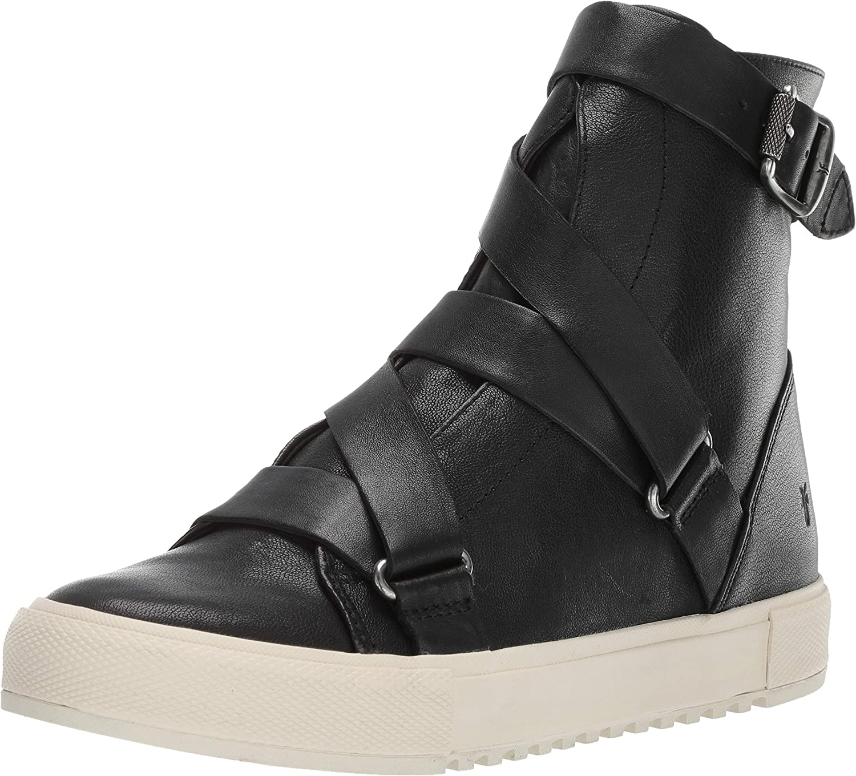 Frye Women's Gia Moto High Sneaker, Black, 11 M US