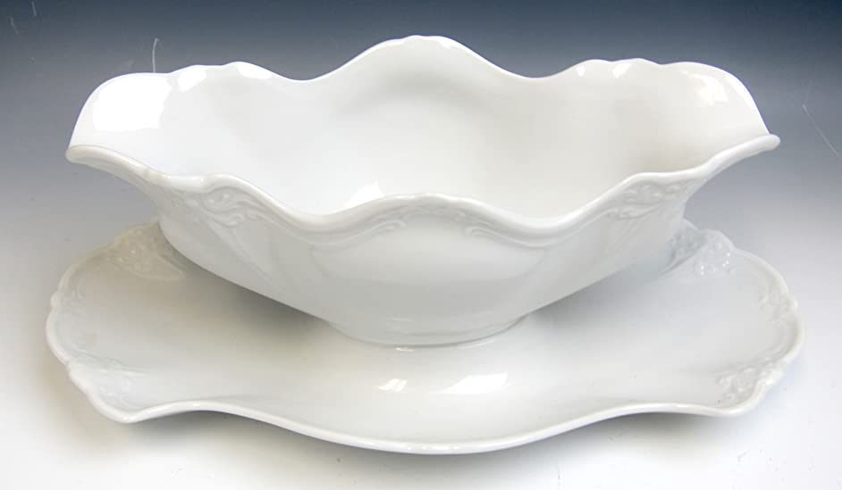 Tirshenreuth China BARONESSE WHITE Gravy boat w/attached underplate EX