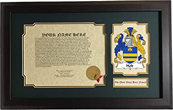 Holt - Coat of Arms and Last Name History, 14x22 Inches Matted and Framed