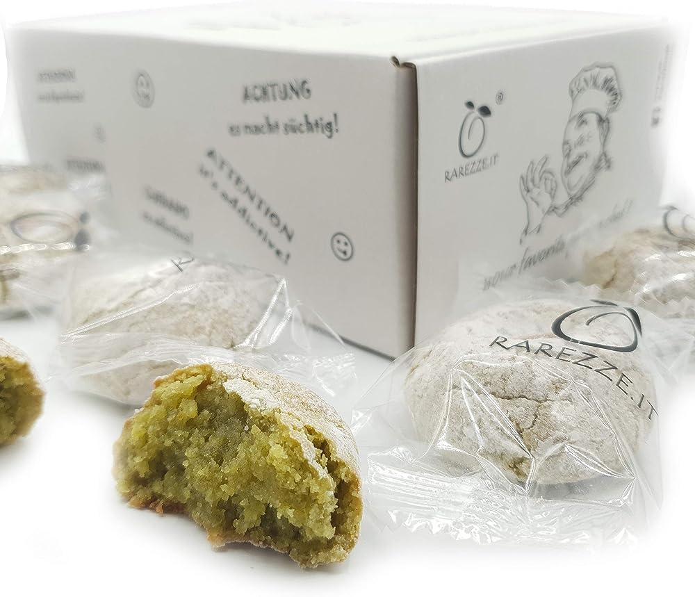 Paste di mandorla siciliane, al pistacchio di sicilia, gr. 400,confezionate una per una