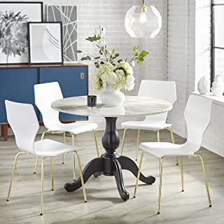 Angelo:HOME Enna Modern Contemporary Round Pedestal Dining Room Set, 5 Piece, White