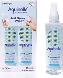 Aquinelle Toilet Tissue Mist Eco-Friendly & Non-Clogging Alternative to Flushable Wipes Simply Spray On Any Folded Toilet ...